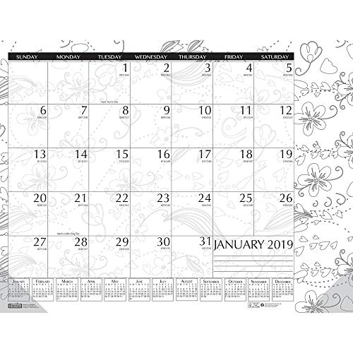 House of Doolittle 2019 Monthly Desk Pad Calendar, Doodle Black and White, 22 x 17 Inches, January - December (HOD187-19)