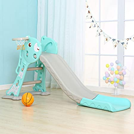 EBTOOLS Tobogán Infantil Plegable, Tobogán para Niños con Escalera, Tobogán de Plástico PE con Aro y Baloncesto, Diseño de Alargamiento 157cm, de 1-5 años de Edad: Amazon.es: Hogar