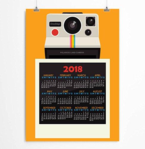 2018 Wall Calendar Retro Camera Orange Blue Gray Polaroid Stationery 5x7, 8x10, 11x14, 12x16, 13x19 inches - Unframed