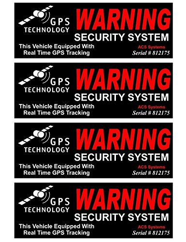 4-Set Amazing Unique Warning GPS Tracking Security System Technology This Vehicle Equipped with Real Time Outside Adhesive Stickers Sign Reflective Premises Under Cameras Protect Post Size - How Polish Scratch To A Car Out