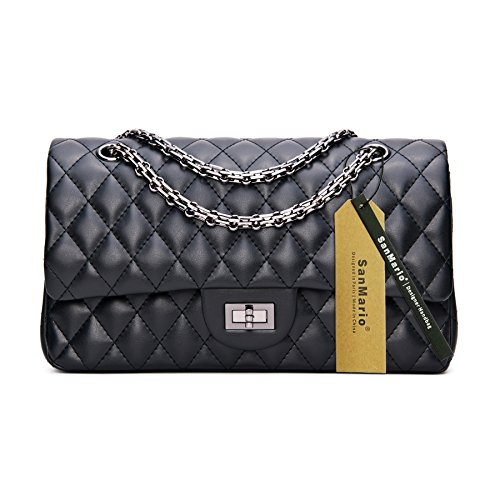 SanMario Designer Handbag Lambskin Classic Quilted Grained Double Flap Black Metal Chain Women's Crossbody Shoulder Bag Black (Sheepskin Womens Shoulder Bag)