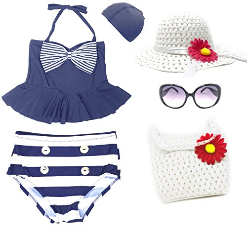Romy's Collection Girls' Fashion Peplum Sailor Swimsuit 6-Piece Set (5-6,