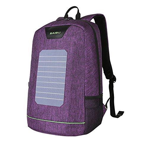 Deportes al aire última intervensión bolsa para la escuela, mochila solar impermeable antirrobo mochila para portátil de viaje con puerto de carga USB para 16inch, Púrpura