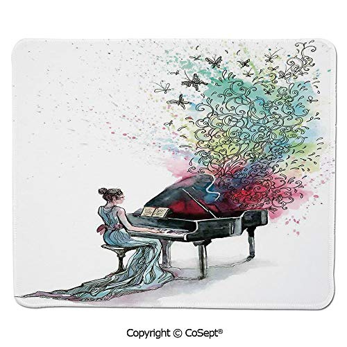 Mouse Pad,Grand Piano Music Musician Butterflies Ornamental Pianist Swirls Vintage,Water-Resistant,Non-Slip Base,Ideal for Gaming (15.74