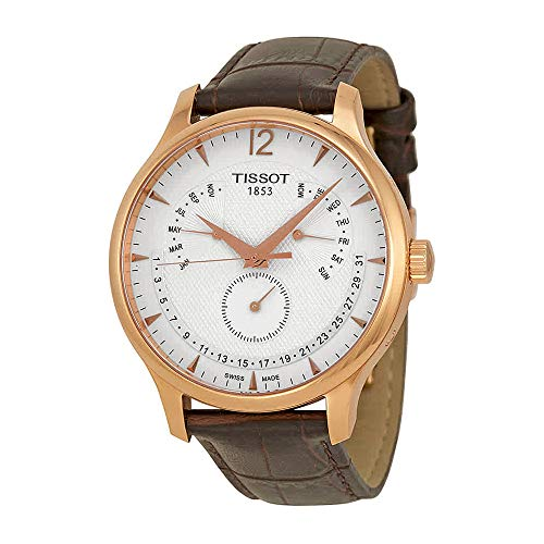 Mens Analog Perpetual Calendar Watch - Tissot Men's T0636373603700 Tradition Rose Gold Watch with Embossed Band