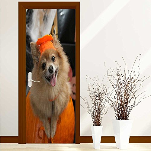 aolankaili Stickers Home Door Decoration Halloween Costume Puppy for Living Bedroom W36 x H79 INCH ()
