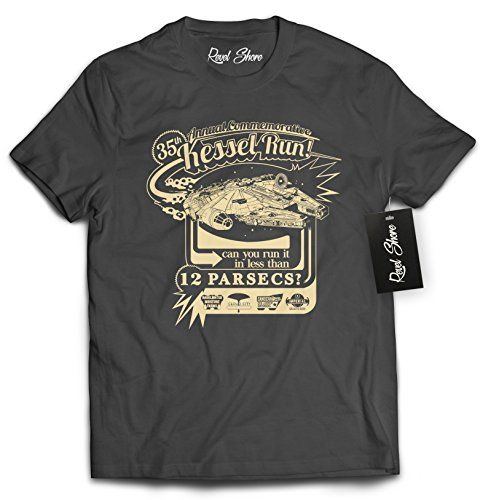 Revel Shore Star Wars 35th Annual Commemorative Kessel Run MILLENIUM Falcon Shirt (Small, Charcoal) ()