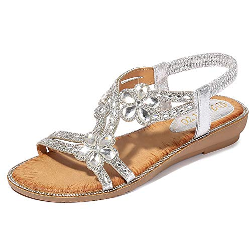Yicornchen Women's T-Strap Beaded Flower RhinestoneFlat Sandals Dress Beach Shoes(8.5 B(M) US,Silver) ()