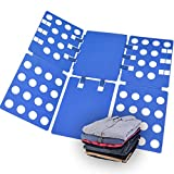 Xubox Clothes Folder, Adjustable Plastic 2mm Thickness T-shirt Folding Board Easy and Fast Laundry Folder Board Organizer Flipfold Rack for Adult Dress, T-shirts, Pajamas, Pants and Sweaters, Blue