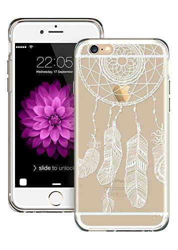 POEGO iPhone 6 / 6S weiche Silikon TPU Schutzhülle Cover Case Etui Transparent Ultra Dünn mit Motiv Feder