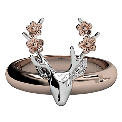 EVBEA Deer Antler Ring Vintage Cute Big Statement Two Tone Flower Gold Roe Rings for Women(385,8)