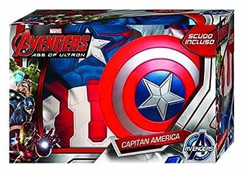 Avengers - Disfraz de Capitán America Age of Ultron, con Escudo, para niños, Talla M (RubieS 620434-M)