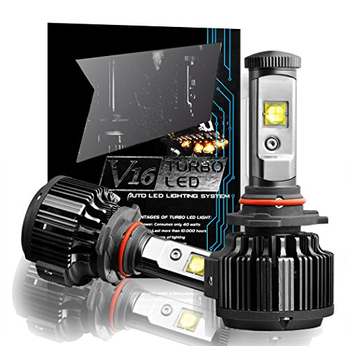 CougarMotor 9006 LED Headlight Bulbs All-in-One Conversion Kit, 7200 Lumen (6000K Cool White) - 9006 Headlight Bulbs 10000k