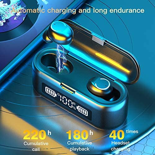 RSGK Wireless Bluetooth 5.1 Headset, WS 2000mAh LED 9D Stereo Earbuds, IPX7 Built-in Microphone, CVC8.0 Intelligent Noise Reduction, Suitable for Sports, Travel, Business Travel