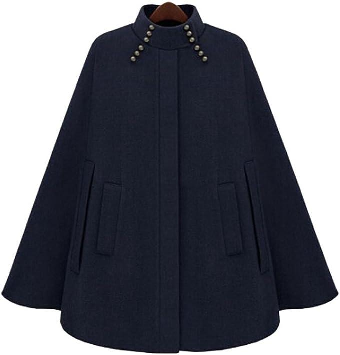 ZKOO Damen Poncho Cape mit Tasche Mantel Jacke Ärmellose Umhang Ponchos Kap Outwear Staubmantel Windmantel Oberteil Tops