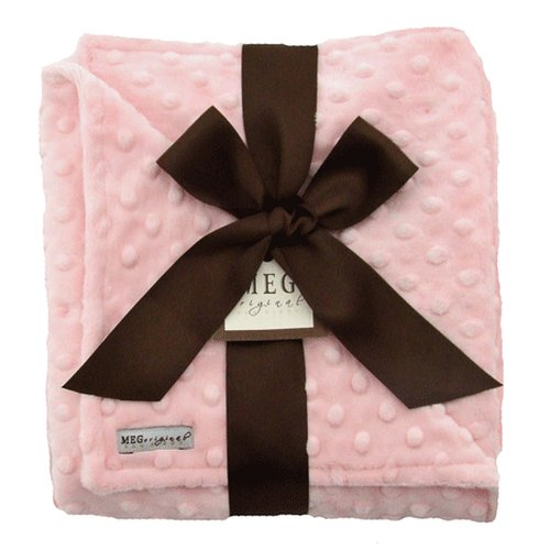 Bibs Boutique Chenille Baby - MEG Original Minky Dot Baby Girl Blanket Pink/Pink