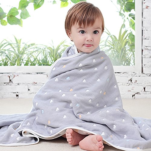 Uozzi Bedding 6 Layers of 100% Organic Hypoallergenic Muslin Cotton Baby Toddler Gray Premium Blanket, Cute Sweet Heart Printed Pattern. (Sweet Heart, 47