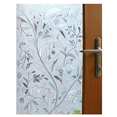 Becry PVC No Glue No-Adhesive Decorative Flowerpot Pattern Stained White Frosted Shop Office Home Office Stained Window Door Glass Film Decals,99% UV Protection 17.7-by-78.7 Inches(45 x 200CM)