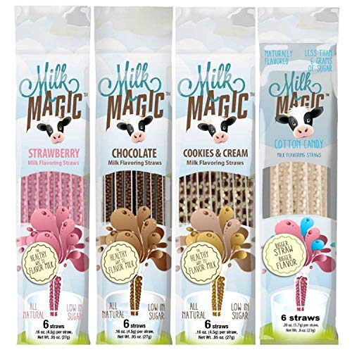 - Milk Magic Magic Milk Flavoring Straws 36 Straws Flavors:Cookies and Cream, Chocolate, Strawberry,Cotton Candy