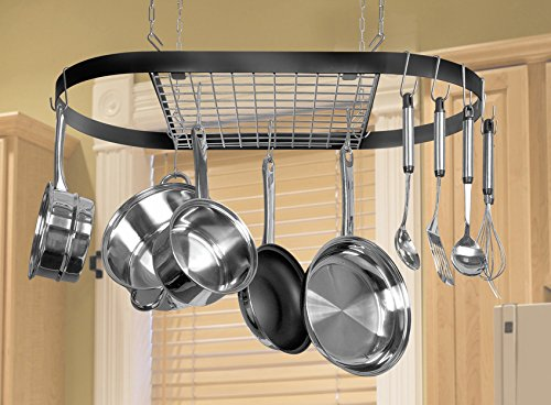 Kinetic Classicor Series Wrought-Iron Oval Pot Rack 12021 - smallkitchenideas.us