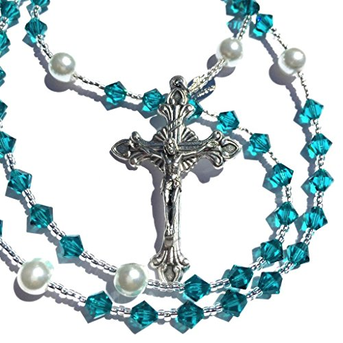 Rana Jabero Blue Zircon (December Birthstone) Swarovski Crystal and Glass Pearl Catholic Religious Prayer Rosary Beads