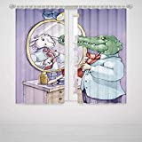 Skull Curtains for Bedroom Cartoon A Crocodile Knotting His Tie Looks in Mirror and Sees Himself As Sheep Fun Cartoon High-Precision Blackout CurtainPuple Green