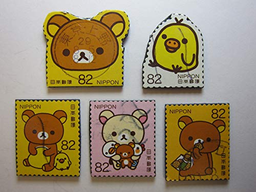(Teddy Bear and Duck Magnets - Rilakkuma - Recycled Postage Stamps from Japan)