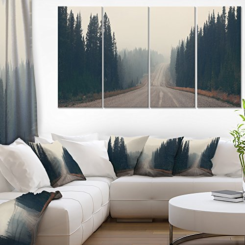 Designart Foggy Road in Forest in Banff Park Modern Seascape on Canvas Art Wall Photgraphy Artwork Print by Design Art