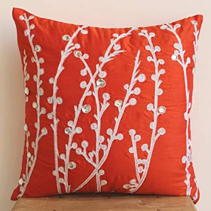 Amazon Designer Coral Orange Pillows Cover Willow Design Throw Enchanting Designer Decorative Throw Pillows