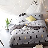 BuLuTu Forest Tree Cotton Kids Bedding Cover Sets Twin Grey Duvet Cover Set Nature For Teen Boys Girls Zipper Closure,Lightweight Super Soft,Hotel,Gifts for Kids,Friends,Family with Love,NO COMFORTER