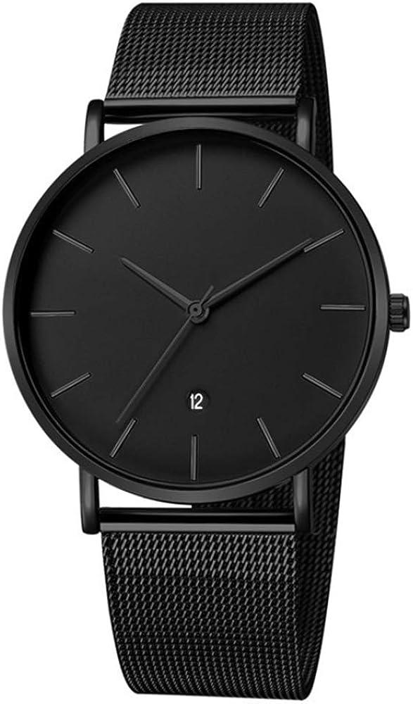 MICGIGI - Reloj de pulsera analógico de cuarzo para hombre con correa de acero inoxidable