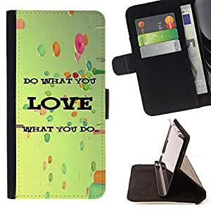 DEVIL CASE - FOR Sony Xperia M2 - Love What You Do Balloons Vignette Retro - Style PU Leather Case Wallet Flip Stand Flap Closure Cover
