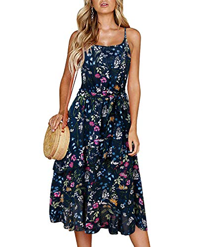 SOLERSUN Midi Dresses for Women, Women's Retro Floral Printed Summer Dress Adjustable Spaghetti Strap Swing Cocktail Party Dress Dark Blue XL