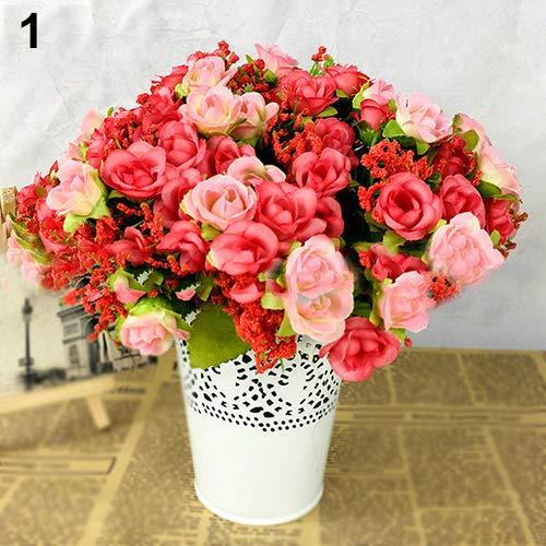litymitzromq Artificial Flowers Fake Plants, Fake Rose Flowers Artificial Floral Plant Wedding Party Decor 21 Pcs on 1 Bouquet Faux Fake Flowers Floral Arrangement