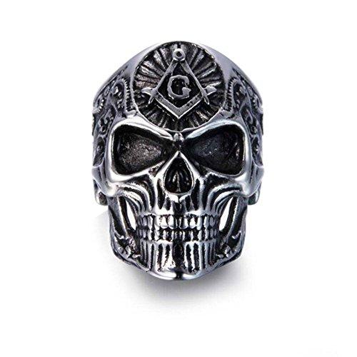 New para hombre de calavera free-mason plata joyería de moda masónico oro Sign anillos de dedo por Wat, -, 13