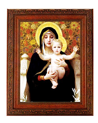 "- Bouguereau - Madonna of the Flowers Print in a Fine Detailed Ornate Antiqued Mahogany Finished 10.25"" X 12"" Frame Italian Lithograph Under Glass"