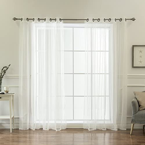 Best Home Fashion Tulle Sheer Lace Curtains Antique Bronze Grommet Top White – 52 W x 84 L – Set of 2 Panels
