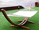 K&A Company Hammock Curved Arc Stand Outdoor Swing Wooden Garden Patio Cotton Wood 161''