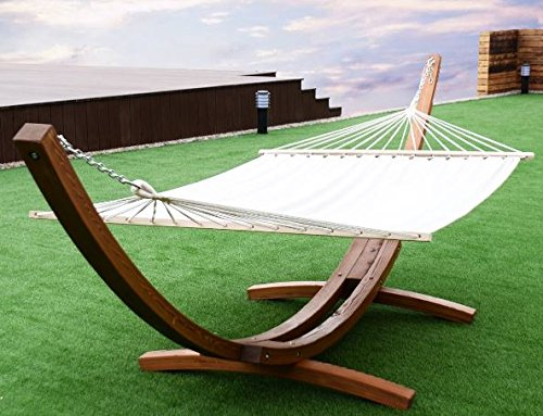 K&A Company Hammock Curved Arc Stand Outdoor Swing Wooden Garden Patio Cotton Wood 161