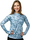 Aqua Design Womens Comfort Fit Long Sleeve Swim Surf Rash Guard with Thumb Holes