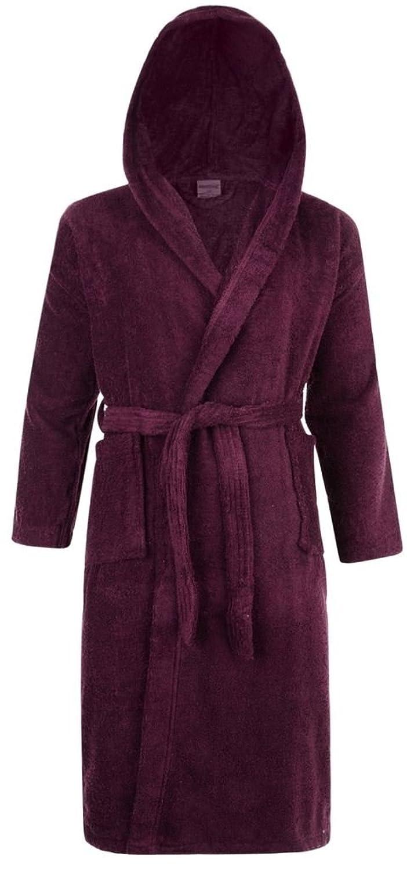 Mens & Ladies 100% Cotton Terry Towelling Hooded Shawl Collar Bathrobe Dressing Gown Bath Robe (Aubergine)