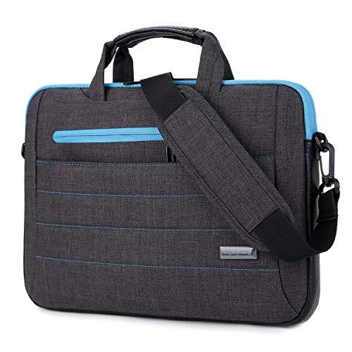 - BRINCH 15-15.6 Inch Multi-Functional Suit Fabric Portable Laptop Sleeve Case Shoulder Messenger Bag Briefcase for Laptop, Tablet, MacBook, Notebook - Black-Blue