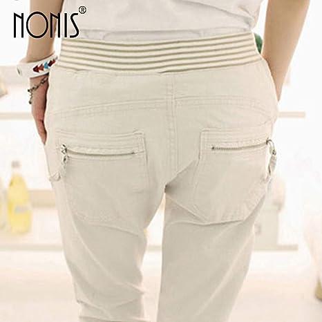 AKDYH Pantalones De Mujer Lápiz Pantalones Cintura Elástica Y Bolsillos De Tela Pantalones Pantalón De Algodón Delgado con Cordón Pantalones, Caqui, XXL: Amazon.es: Deportes y aire libre