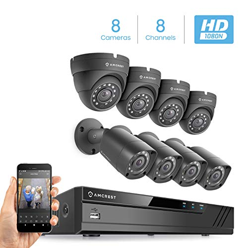 Amcrest HD 1080-Lite 8CH Video Security Camera System w/ 8 720P IP67 Outdoor Cameras, 65ft Night Vision, Hard Drive Not Included, Supports AHD, CVI, TVI, 960H & IP Cameras (AMDVTENL8-4B4D-B)