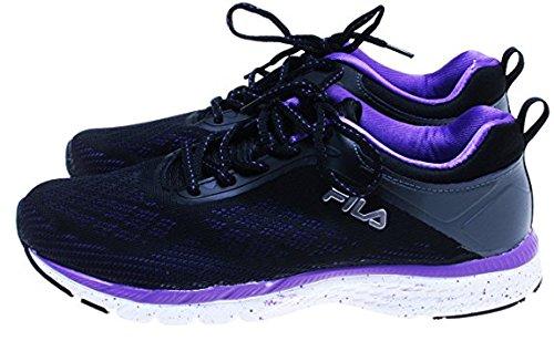 Fila Womens Memory Foam Outreach Athletic Shoe (6.5, Black-Purple) (8)