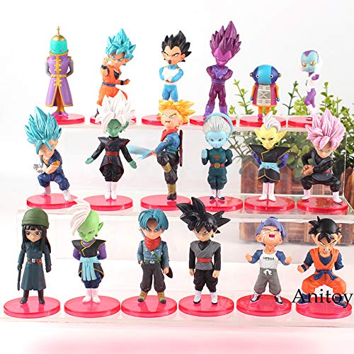 Super Saiyan Blue Goku Gohan Vegeta Dragon Ball Super Action Figure Figurine Trunks Mai Zamasu Black Goku 18pcs/set 5-9cm