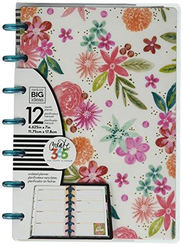 Horizontal Planner (Me & My Big Ideas Mind Happy Life Planner, Mini, White/Floral)