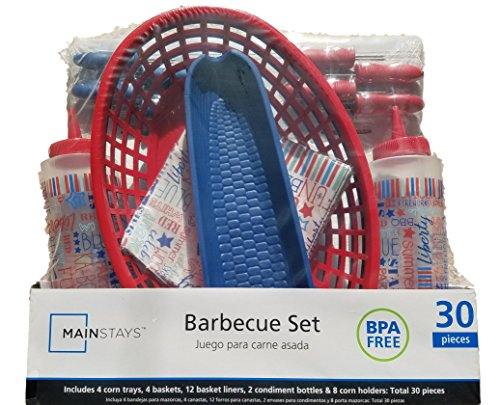 (4th of July BBQ Picnic Serving Set with Plastic Hamburger Baskets, Food Basket Liners, Corn Trays, Corn Cob Holders, Ketchup & Mustard Condiment Bottles (Red, White, and)