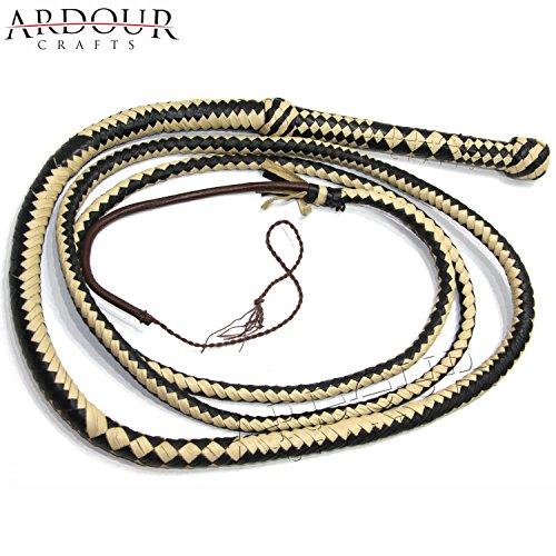 Whips Sporting Goods - Ardour Crafts Genuine Real Leather 08 Feet Long 12 Plait Weaving Bull Whip Black & Off White