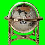 21'' Tall Table Top Pearl Ocean Gemstone World Globe with 4 Leg Zinic Metal Gold Stand